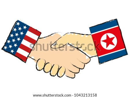 American and the North Korean handshake isolated symbolizes that North Korea leader Kim Jong-un has invited President of USA the United States of America Donald Trump to meet for negotiations - vector Stockfoto ©