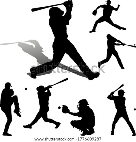 american baseball player group. batter pitcher catcher. Stock photo ©