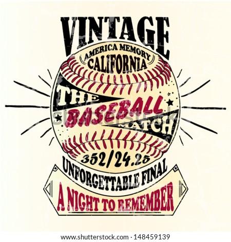 american-baseball-vintage-retro illustration handmade design
