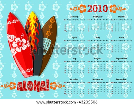 American blue Aloha vector calendar 2010 with surf boards, starting from Sundays