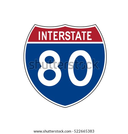 American blue and red motorway road sign on white background, 80