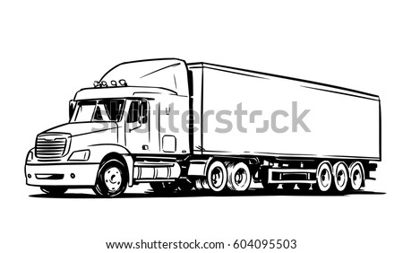 American Cargo Truck Isolated on White