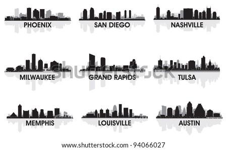 American cities skyline set