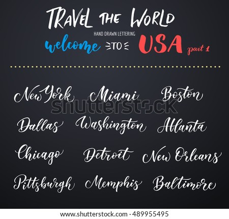 american city vector lettering