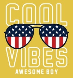 American. cool vibes. awesome boy. graphic tees vector illustration design and other uses