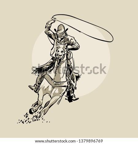 american cowboy riding horse