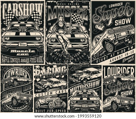 American custom cars vintage posters set in monochrome style with letterings muscle lowrider and hot rod cars attractive tattooed woman holding checkered race flag vector illustration