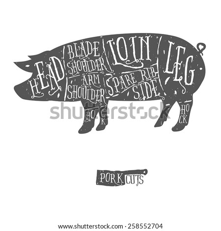 american cuts of pork  vintage...