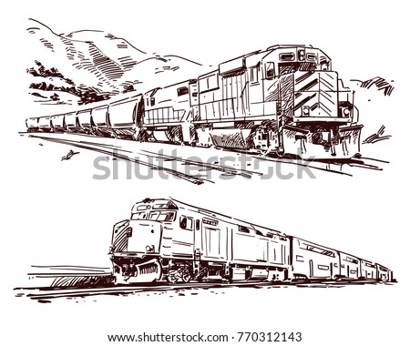 American Diesel Trains. Hand drawn sketch
