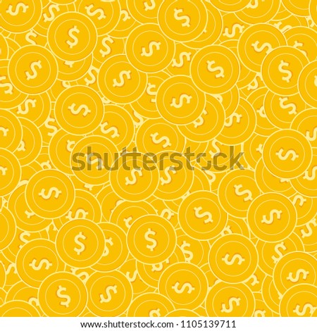 American dollar coins seamless pattern. Fresh scattered USD coins. Big win or success concept. USA disorderly flat money pattern. Coin tile vector illustration.