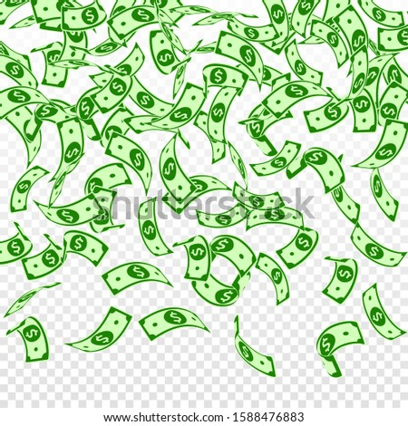 American dollar notes falling. Floating USD bills on transparent background. USA money. Creative vector illustration. Nice jackpot, wealth or success concept.