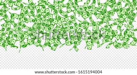 American dollar notes falling. Floating USD bills on transparent background. USA money. Cute vector illustration. Actual jackpot, wealth or success concept.
