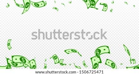 American dollar notes falling. Random USD bills on transparent background. USA money. Curious vector illustration. Ravishing jackpot, wealth or success concept.