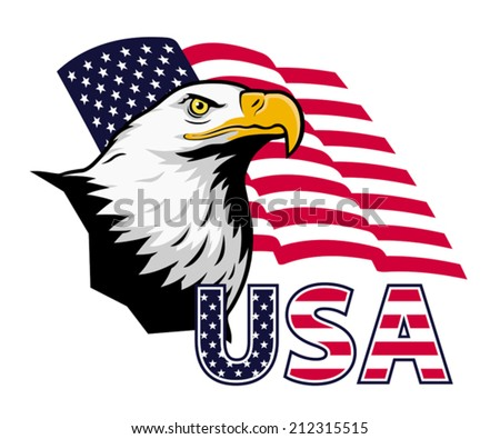 american eagle against usa flag