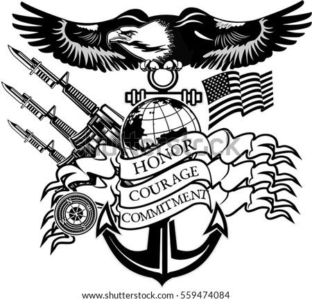 american eagle anchor and globe