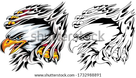 American eagle clawing flesh. Vector illustration in tattoo style.