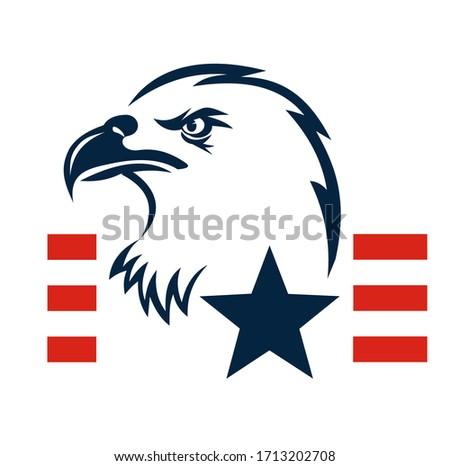 American Eagle Patriotic Logo. Eagle Head and Star Logo