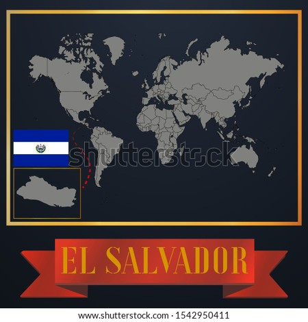 American El Salvador outline world map silhouette vector illustration, creative design background, national country flag, design element, symbols from countries all continents set.