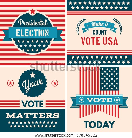 American election badges and vote logo graphics, design elements, election united states, banner collection to encourage voting 2016 elections. Vintage elections, campaign and voting signs set.