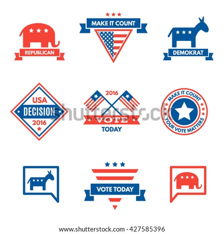 American election badges and vote logo, labels, design elements, United States, banner collection to encourage voting 2016 elections. Vintage elections, campaign and voting signs set.