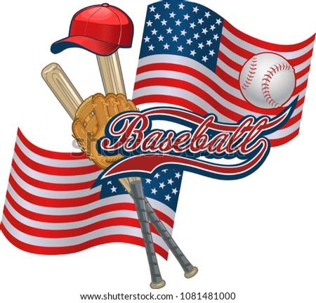 American Flag and Baseball. Baseball label