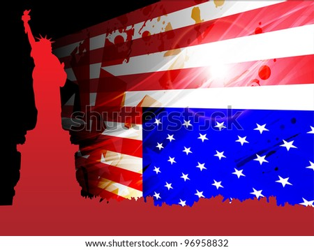 American flag and statue of liberty on grungy red background for 4th July American independenceDay and other events. Vector illustration.