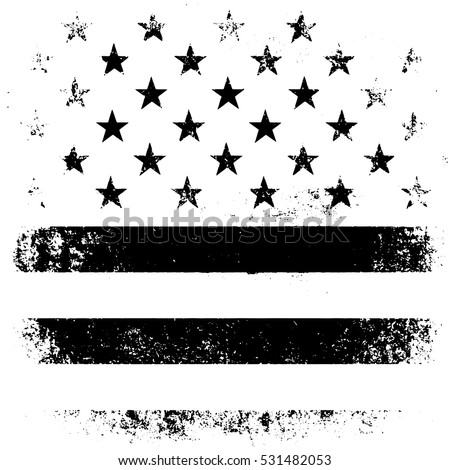 American Flag Background. Grunge Aged Vector Illustration. Black and white.