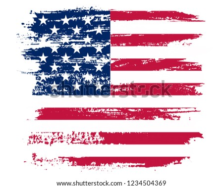 American flag background.Vector grunge flag of United States. #1234504369