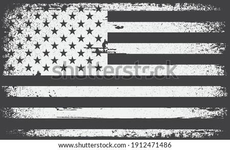 American flag.Black and white flag of USA.