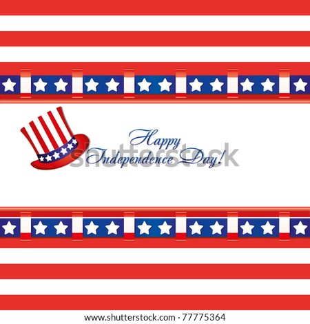 American flag colors in a greetings card and top hat for 4th of July independence day celebrations, vector illustration
