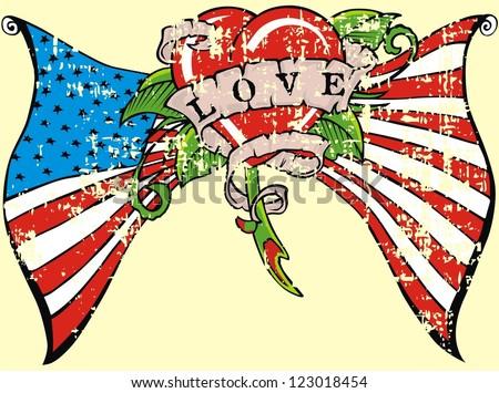 American flag flower love
