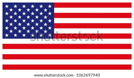 American Flag for Independence Day. United States of America national symbol. Official colors and proportion of flag of USA. Vector illustration #1062697940