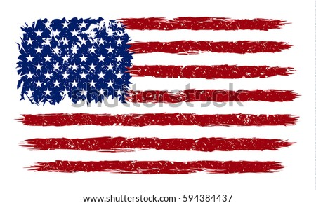 American Flag grunge style. Vector image of American Flag. American Flag background grunge. USA. American Flag illustration. United States of America grunge. USA. USA grunge style. United States. USA.