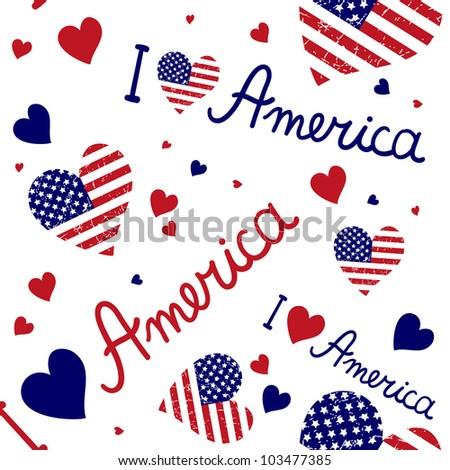 American flag heart Vector pattern
