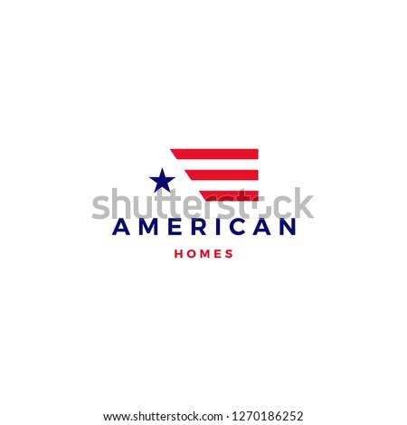 american flag house home mortgage logo vector icon Stock photo ©