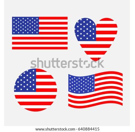 ec7a79f7e9d7 Patriotic American Flag USA Heart Vector Illustration - Download ...
