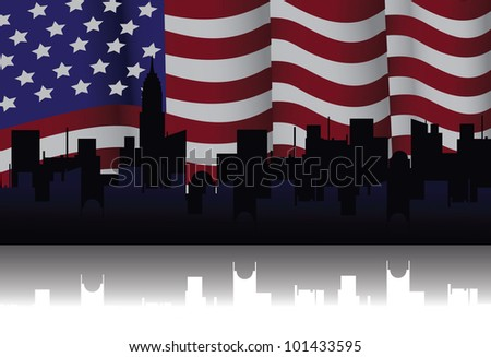 American Flag Illustration Vector EPS 8 vector grouped for easy editing.