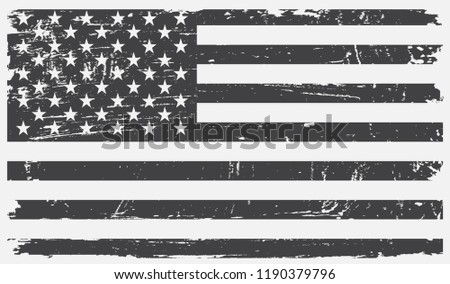 American flag in grungy style.Vector USA grunge flag. #1190379796