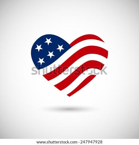 american flag in heart vector...
