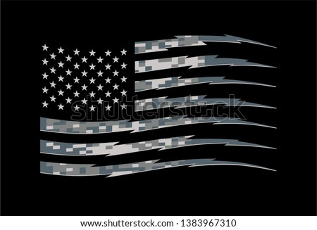 American Flag in Military Digital Camouflage Pattern with Stripes in Lightning Shape