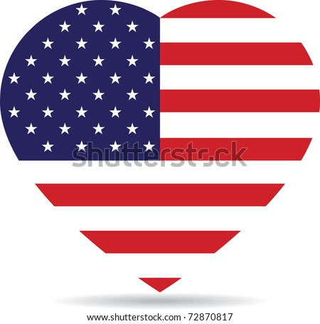 American flag in the form of heart