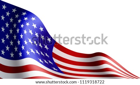 American flag isolated on white background. Flag for patriotic holidays. Labor day, Independence day, Memorial day. Vector illustration. #1119318722