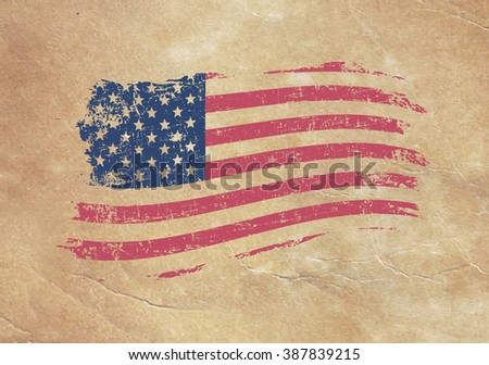 american flag on an old piece