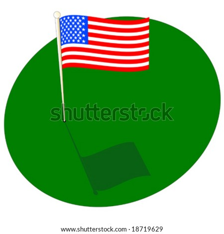American flag on golf green with pole