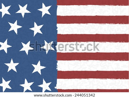 American flag on scribble abstract pattern, Vector