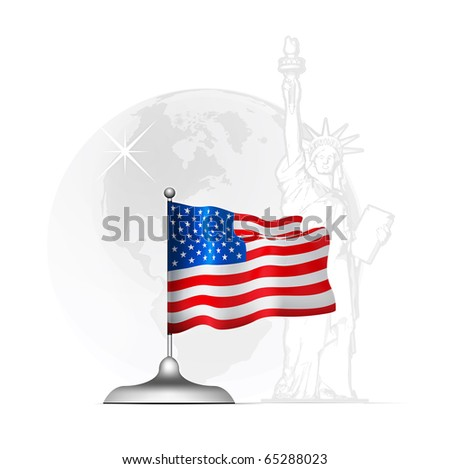 American flag on the stand at the background of the statue of liberty and the globe with a map of America
