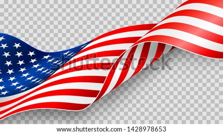 American flag on transparent background for 4t of July poster template.USA independence day celebration.USA 4th of July promotion advertising banner template for Brochures,Poster or Banner #1428978653