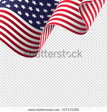 American flag on transparent background - vector illustration #337125200