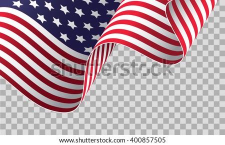 American flag on transparent background - vector illustration