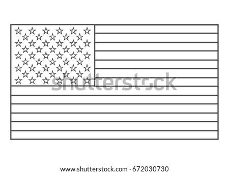 American flag outline vector eps10. Usa flag outline.